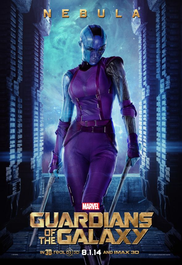 "Karen Gillan as Nebula in a promotional poster for ""Guardians of the Galaxy."" Photo Credit: Marvel via IGN"