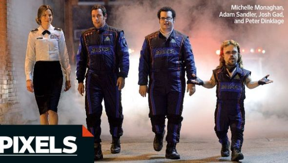 "Michelle Monaghan, Adam Sandler, Josh Gad, and Peter Dinklage in ""Pixels."" Photo Credit: Columbia Pictures/Entertainment Weekly"