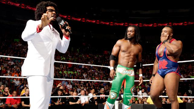 Perhaps the biggest surprise of the night was Xaiver Woods forming a stable with Kofi and Big E. (Photo Credit: WWE.com)