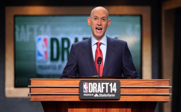 Jun 26, 2014; Brooklyn, NY, USA; NBA commissioner Adam Silver addresses the crowd before the start of the 2014 NBA Draft at the Barclays Center. Mandatory Credit: Brad Penner-USA TODAY Sports