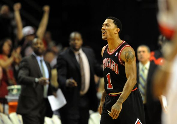Nov 22, 2013; Portland, OR, USA; Chicago Bulls point guard Derrick Rose (1) yells at the officials and is given a technical foul during the third quarter of the game against the Portland Trail Blazers at the Moda Center. The Blazers won the game 98-95. Mandatory Credit: Steve Dykes-USA TODAY Sports