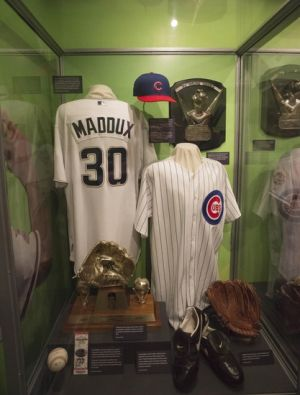 Jul 26, 2014; Cooperstown, NY, USA; Greg Maddux display at the National Baseball Hall of Fame. Mandatory Credit: Gregory J. Fisher-USA TODAY Sports