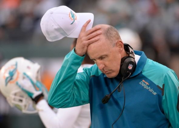 Dec 1, 2013; East Rutherford, NJ, USA; Miami Dolphins head coach Joe Philbin during the game against the New York Jets at MetLife Stadium. Mandatory Credit: Robert Deutsch-USA TODAY Sports