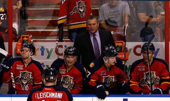Apr 12, 2014; Sunrise, FL, USA; Florida Panthers head coach Peter Horachek in the third period of a game against the Columbus Blue Jackets at BB&T Center. The Blue Jackets won 3-2. Mandatory Credit: Robert Mayer-USA TODAY Sports