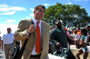 Oct 5, 2013; Miami Gardens, FL, USA; Miami Hurricanes head coach Al Golden arrives before a game against the Georgia Tech Yellow Jackets at Sun Life Stadium. Mandatory Credit: Steve Mitchell-USA TODAY Sports