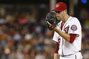 Aug 22, 2014; Washington, DC, USA; Washington Nationals starting pitcher Doug Fister (58) prepares to pitch against the San Francisco Giants in the fifth inning at Nationals Park. The Giants won 10-3. Mandatory Credit: Geoff Burke-USA TODAY Sports