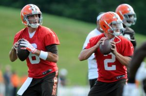 Jul 26, 2014; Berea, OH, USA; Cleveland Browns quarterback Brian Hoyer (6) and quarterback Johnny Manziel (2) practice during training camp at the Cleveland Browns training facility. Mandatory Credit: Ken Blaze-USA TODAY Sports