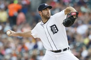 Aug 1, 2014; Detroit, MI, USA; Detroit Tigers starting pitcher Justin Verlander (35) pitches in the first inning against the Colorado Rockies at Comerica Park. Mandatory Credit: Rick Osentoski-USA TODAY Sports