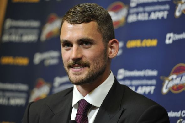 Aug 26, 2014; Independence, OH, USA; Cleveland Cavaliers player Kevin Love talks to the media at Cleveland Clinic Courts. Mandatory Credit: David Richard-USA TODAY Sports