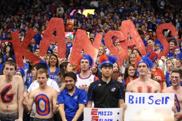Feb 22, 2014; Lawrence, KS, USA; Kansas Jayhawks fans show their support during the game against the Texas Longhorns at Allen Fieldhouse. Kansas won 85-54. Mandatory Credit: Denny Medley-USA TODAY Sports