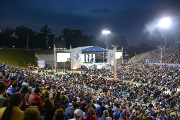 Aug 2, 2014; Canton, OH, USA; General view of the 2014 Pro Football Hall of Fame Enshrinement at Fawcett Stadium. Mandatory Credit: Kirby Lee-USA TODAY Sports