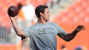 Aug 23, 2014; Cleveland, OH, USA; St. Louis Rams quarterback Sam Bradford (8) warms up before a game against the Cleveland Browns at FirstEnergy Stadium. Mandatory Credit: Ron Schwane-USA TODAY Sports
