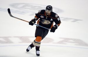 May 16, 2014; Anaheim, CA, USA; Anaheim Ducks right wing Teemu Selanne (8) skates during the first period in game seven of the second round of the 2014 Stanley Cup Playoffs against the Los Angeles Kings at Honda Center. Mandatory Credit: Robert Hanashiro-USA TODAY Sports