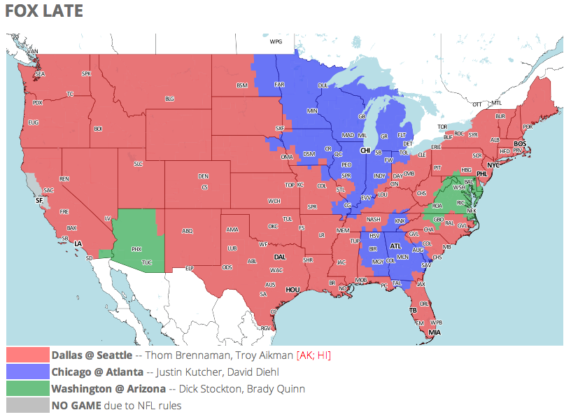 NFL TV Schedule and Coverage Map Week 6