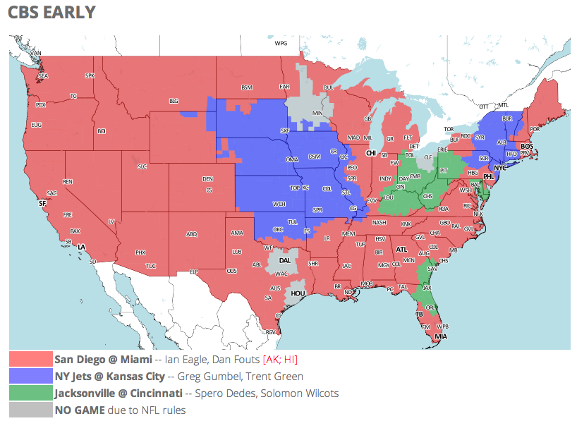 Nfl Tv Schedule And Coverage Map Week 9