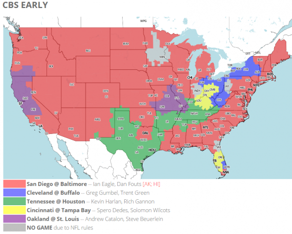 Nfl Coverage Map And Tv Listings For Week 13