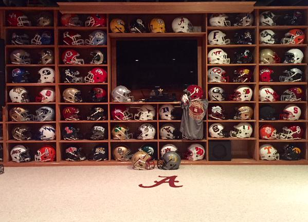 Helmets For Every Bowl Game In Man Cave Photo