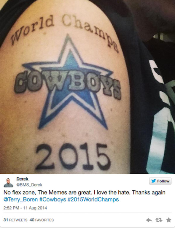 dallas cowboys fan has to regret 2015 world champs tattoo. Black Bedroom Furniture Sets. Home Design Ideas