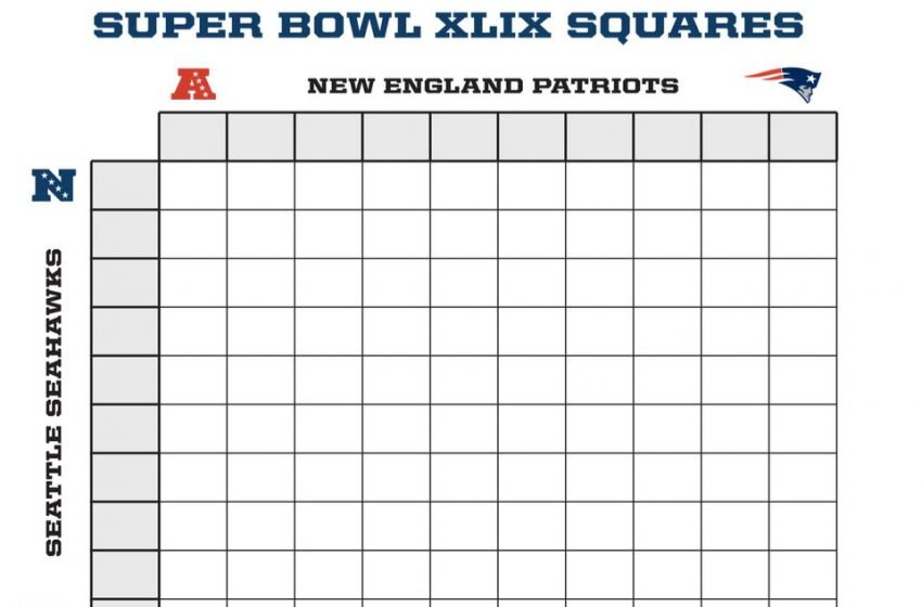 Super Bowl 49 Squares Sheet