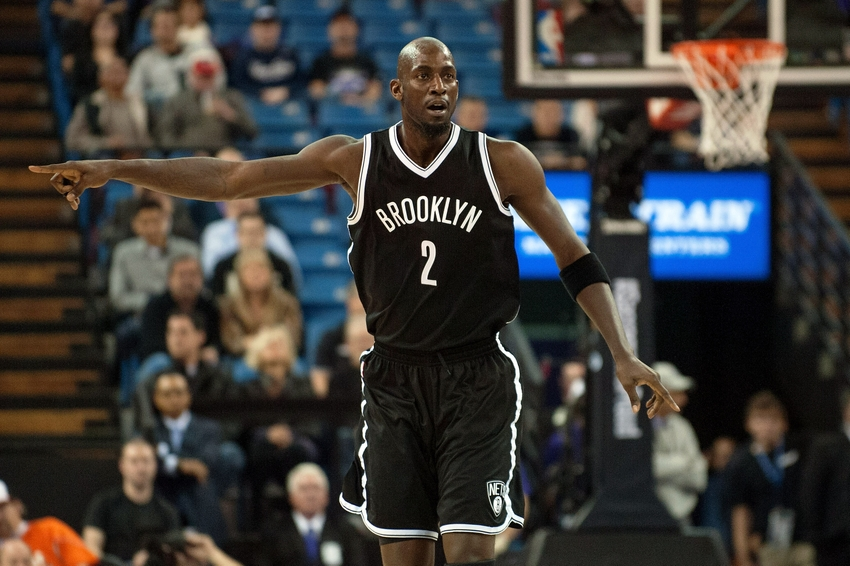 Jan 21, 2015; Sacramento, CA, USA; Brooklyn Nets forward Kevin Garnett (2) directs the defense during the first quarter of the game against the Sacramento Kings at Sleep Train Arena. Mandatory Credit: Ed Szczepanski-USA TODAY Sports