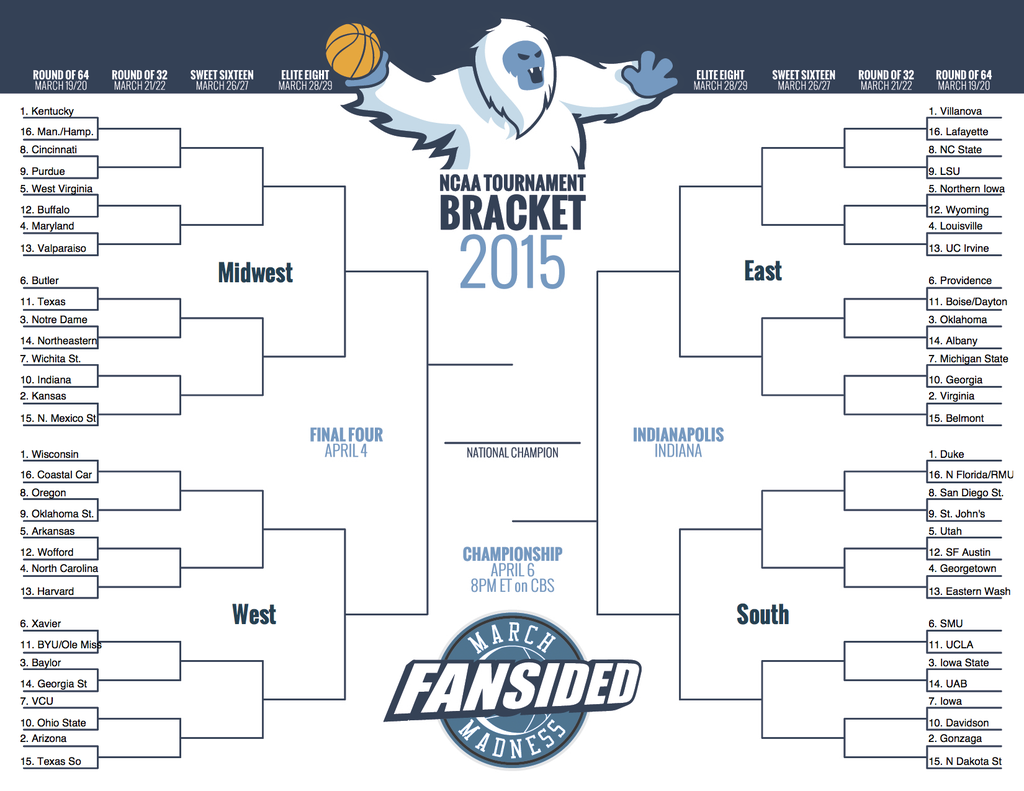 Printable March Madness Brackets For Ncaa Tournament