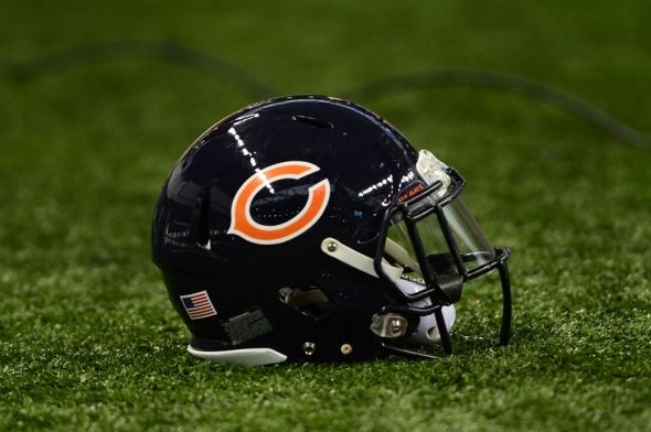 Nov 27, 2014; Detroit, MI, USA; General view of a Chicago Bears helmet ...