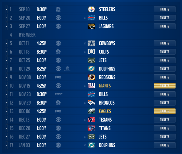 New England Patriots 2015 schedule released, dates and times