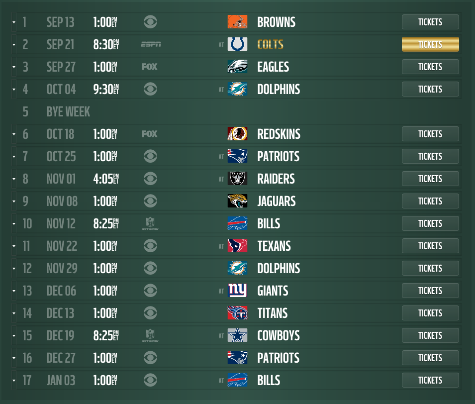 New York Jets 2015 schedule released, dates and times