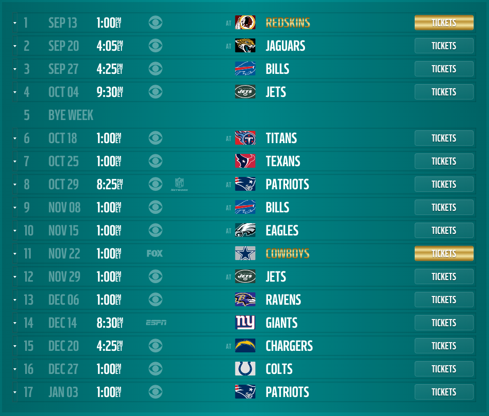 Miami Dolphins 2015 Schedule Released Dates And Times