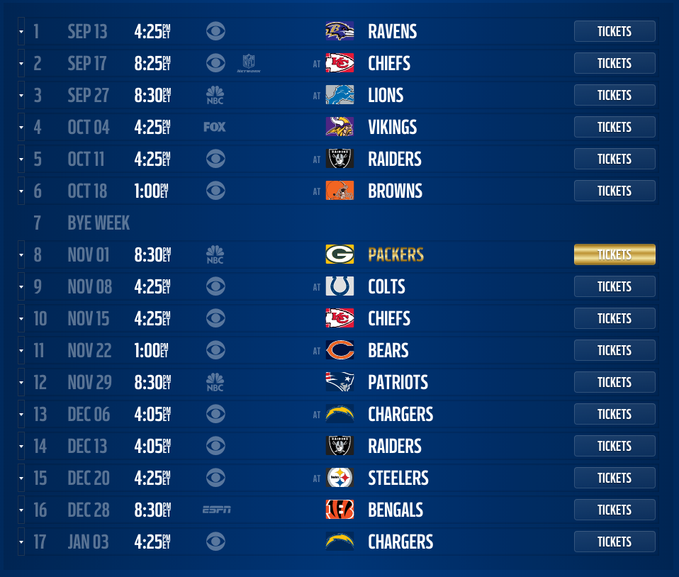 Denver Broncos 2015 scheduled released, dates and times.