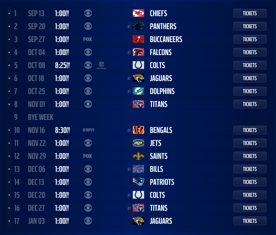 Houston Texans 2015 Schedule And Opponents