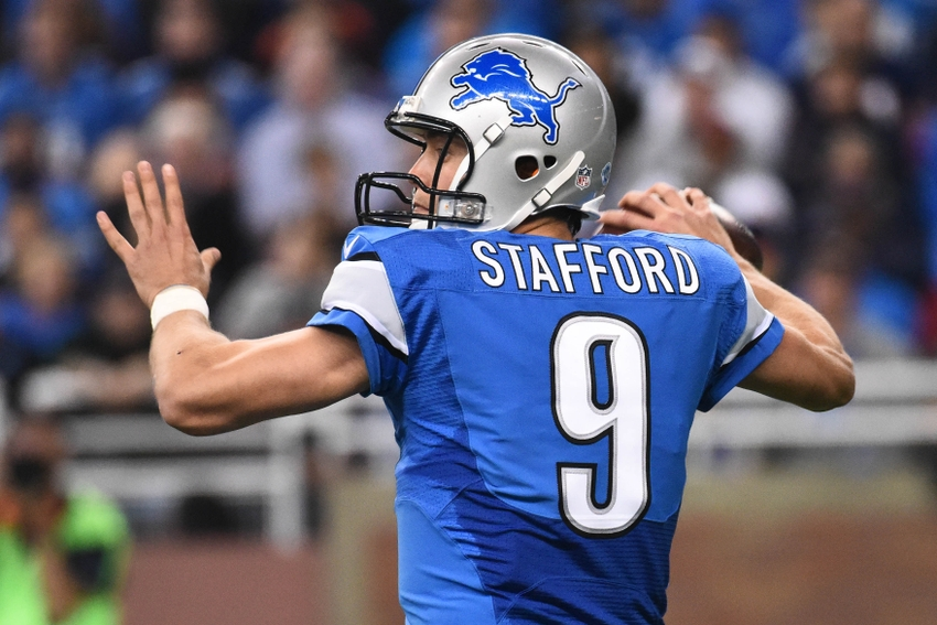 Oct 18, 2015; Detroit, MI, USA; Detroit Lions quarterback Matthew Stafford (9) during the game against the Chicago Bears at Ford Field. Mandatory Credit: Tim Fuller-USA TODAY Sports