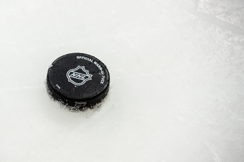Nov 12, 2015; Dallas, TX, USA; A view of hockey puck before the game between the Dallas Stars and the Winnipeg Jets at the American Airlines Center. Mandatory Credit: Jerome Miron-USA TODAY Sports