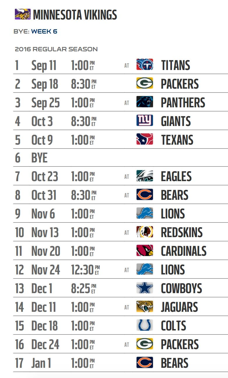 Wild image with minnesota vikings printable schedule