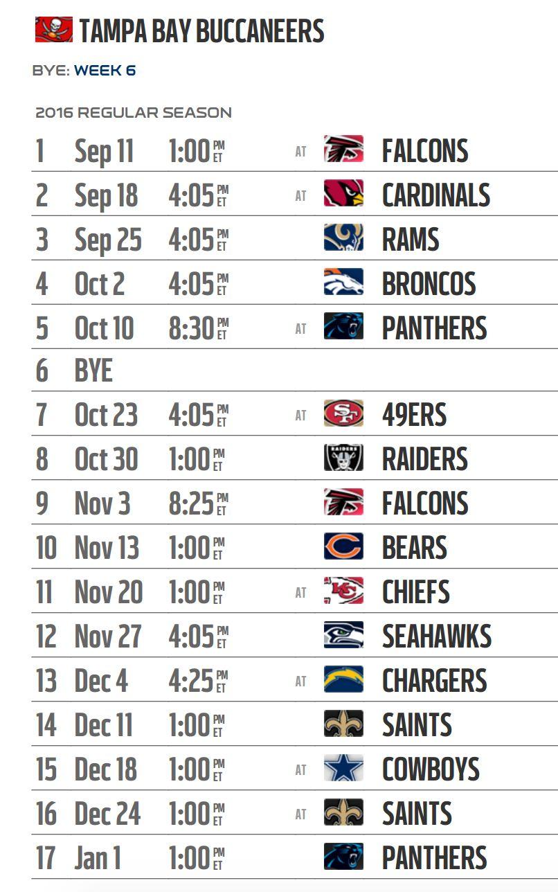 Tampa Bay Buccaneers 2016 Nfl Schedule Released