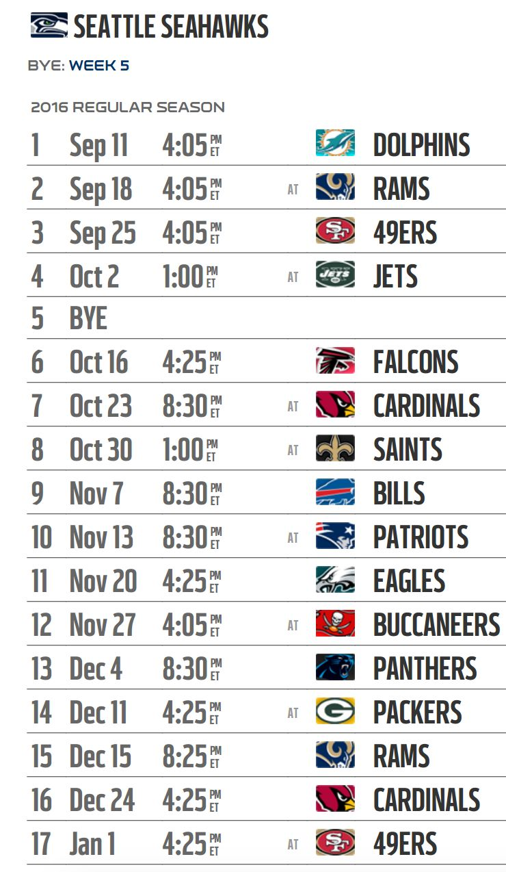 Seattle Seahawks' 2016 NFL schedule released