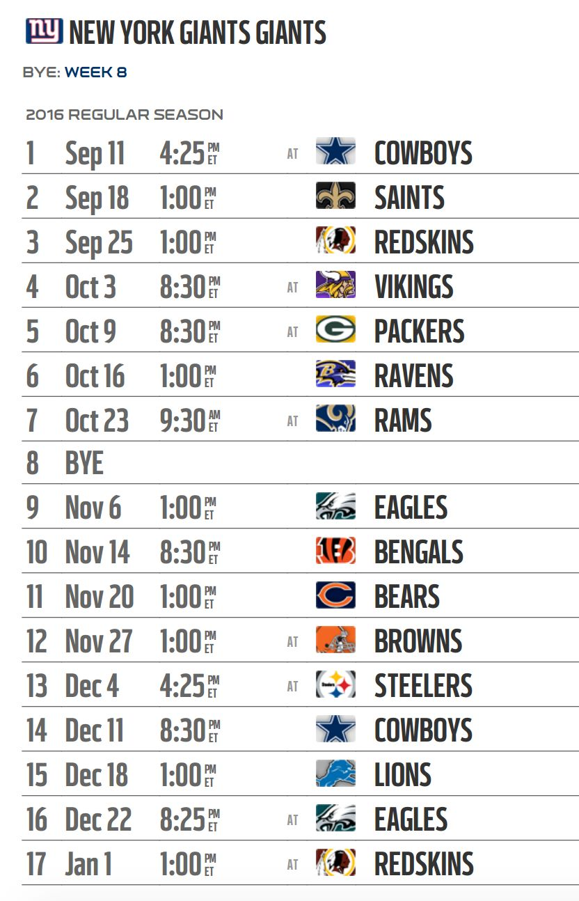 The New York Giants 2016 schedule was released Thursday and ranks as ...