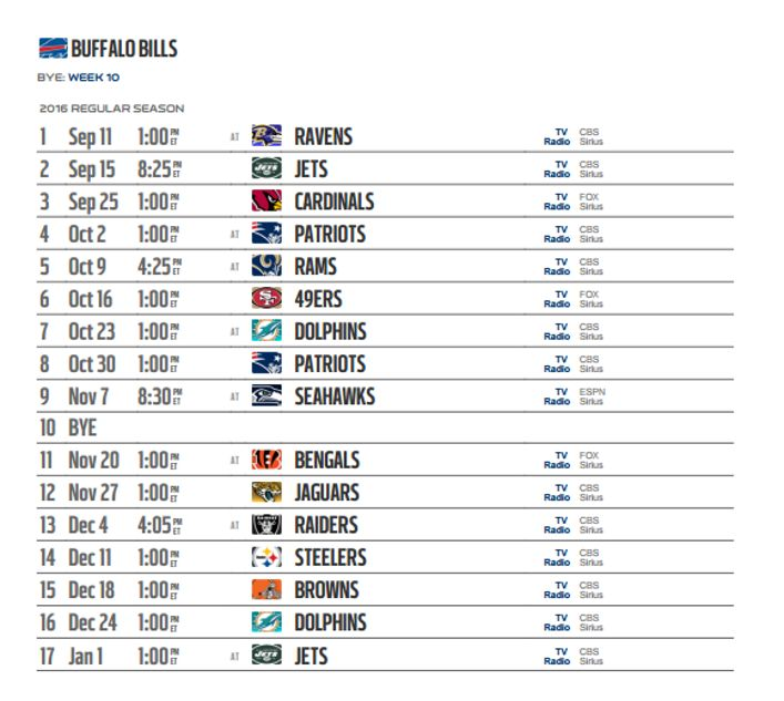 This is a photo of Superb Buffalo Bills Schedule Printable
