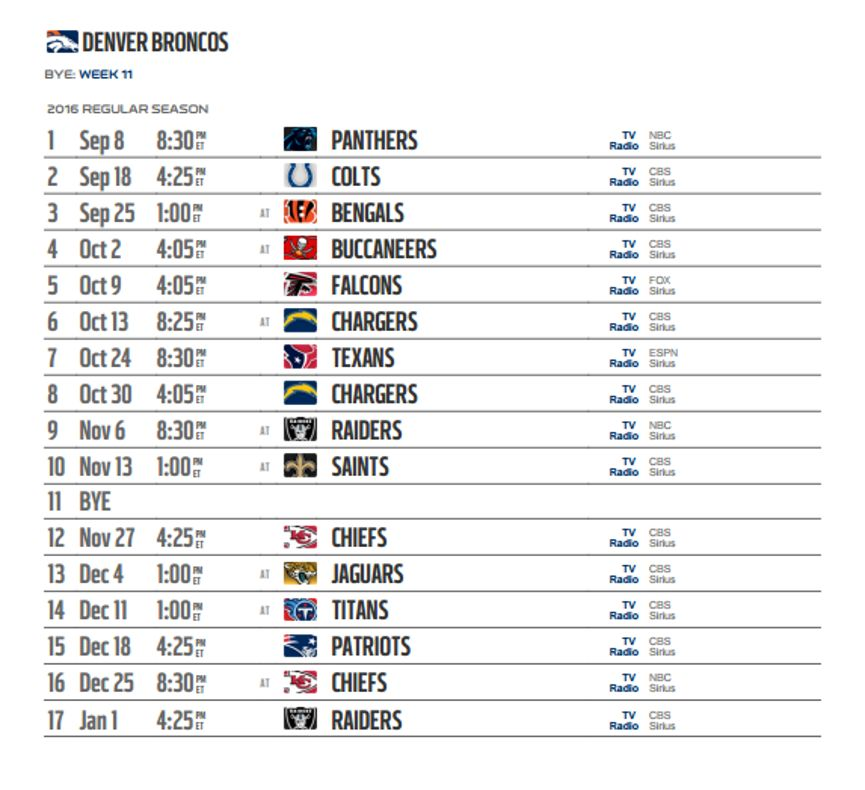 It is a photo of Adaptable Denver Broncos Schedule Printable