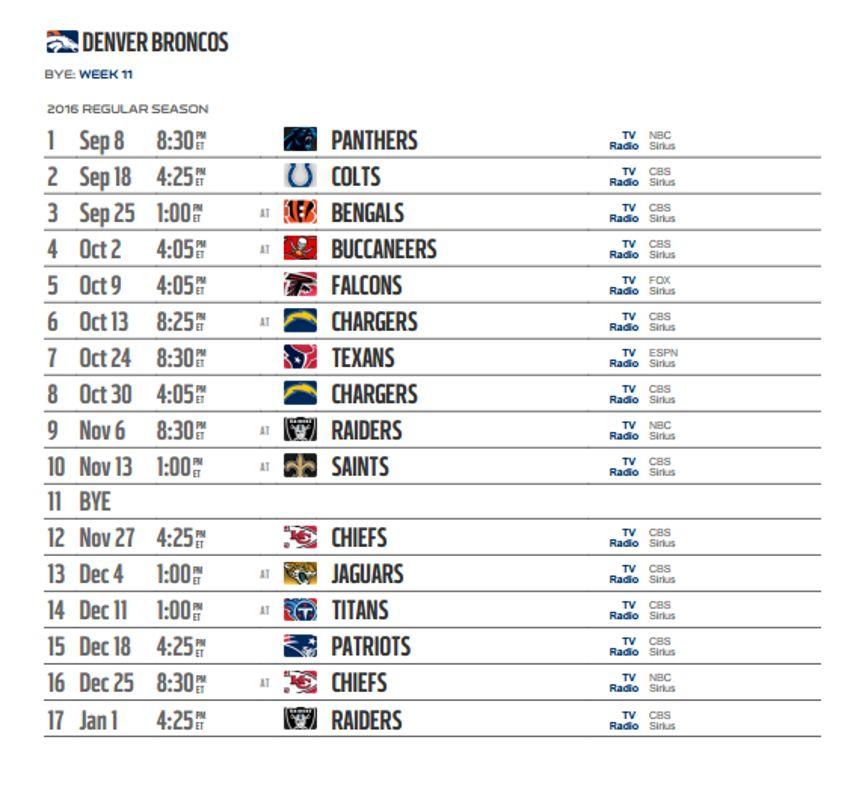Denver Broncos' 2016 NFL Schedule Released