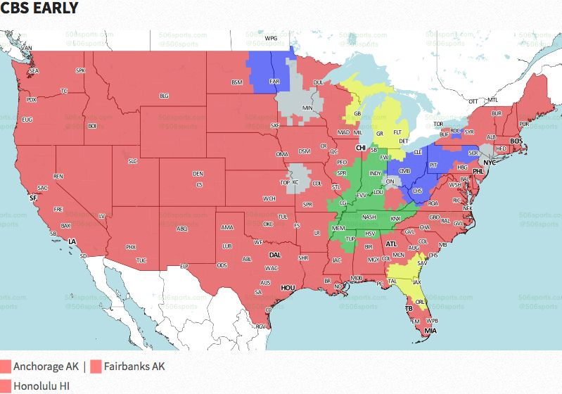 Nfl Coverage Map 2016 Tv Schedule Week 11