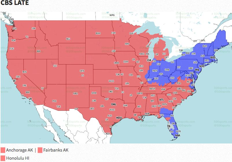 Nfl Coverage Map 2016 Tv Schedule Week 12