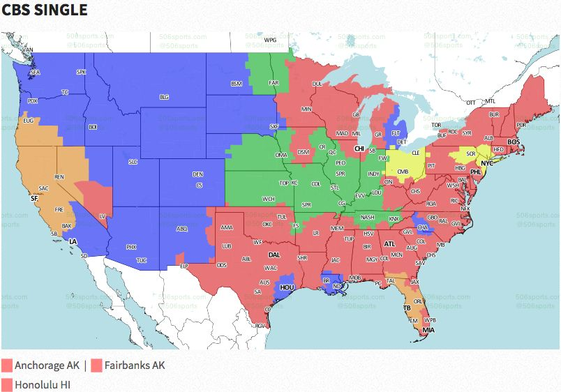 Nfl coverage map 2016 tv schedule week 8 fox sports cbs has five games on sunday four in the 100 pm et slot and one late afternoon game the four early games are as follows new england patriots at publicscrutiny Image collections