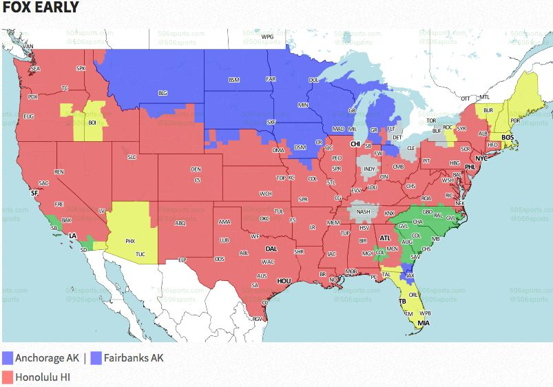 NFL Coverage Map TV Schedule Week FOX Sports - Nfl us map