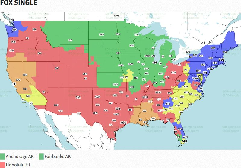 Nfl Coverage Map 2016 Tv Schedule Week 9