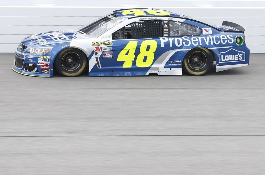 Apr 23, 2016; Richmond, VA, USA; Sprint Cup Series driver Jimmie Johnson (48) during practice for the Toyota Owners 400 at Richmond International Raceway. Mandatory Credit: Amber Searls-USA TODAY Sports