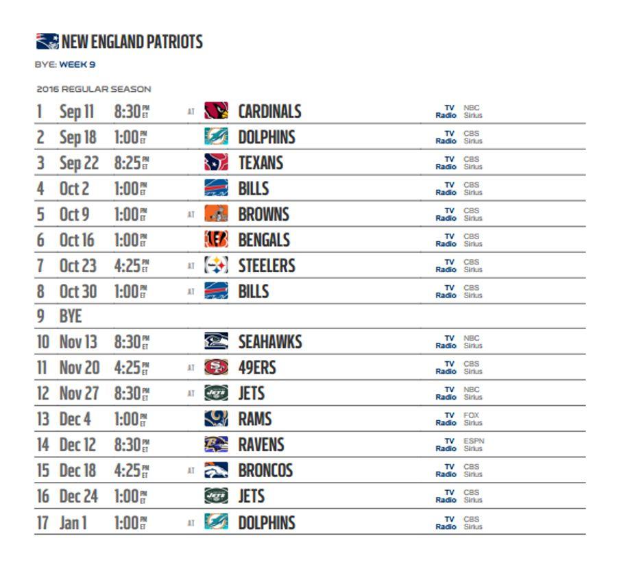 patriots schedule - photo #34