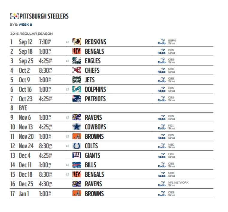 ... Steelers weekly schedule for the 2016 NFL season has been released