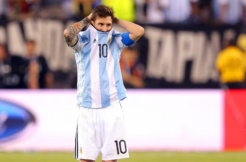 Jun 26, 2016; East Rutherford, NJ, USA; Argentina midfielder Lionel Messi (10) reacts during penalty kicks during the championship match of the 2016 Copa America Centenario soccer tournament against Chile at MetLife Stadium. Chile defeated Argentina 0-0 (4-2). Mandatory Credit: Brad Penner-USA TODAY Sports