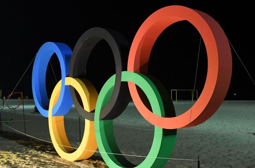 Olympic rings at copacabana beach prior to the 2016 rio olympics